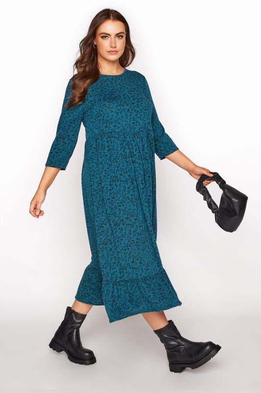 LIMITED COLLECTION Blue Floral Smock Midaxi Dress_B.jpg