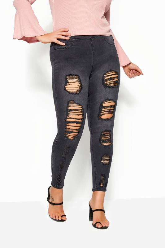 Charcoal Extreme Distressed JENNY Jeggings