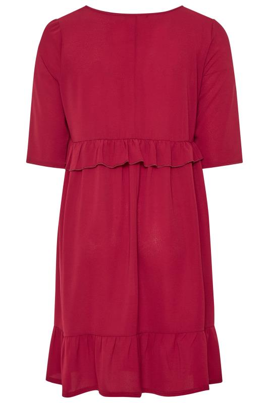 LIMITED COLLECTION Wine Red Frill Smock Dress
