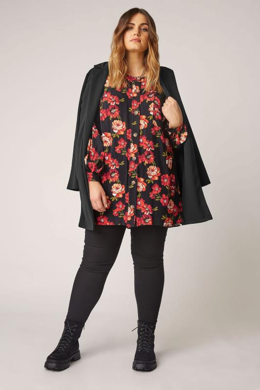 THE LIMITED EDIT Black Floral Smock Tiered Shirt_B.jpg
