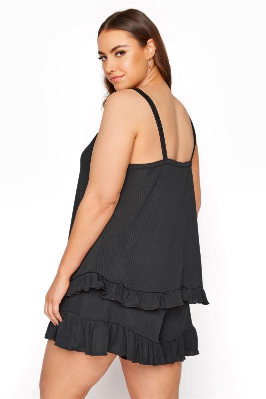 LIMITED COLLECTION  Black Frill Ribbed Pyjama Shorts_C.jpg