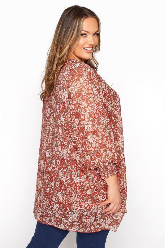 YOURS LONDON Rust Floral Batwing Sleeve Blouse_E.jpg