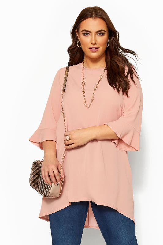 Tunics dla puszystych YOURS LONDON Blush Pink Flute Sleeve Tunic