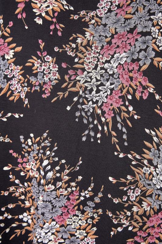 Black Floral Print Split Hem Top_S.jpg