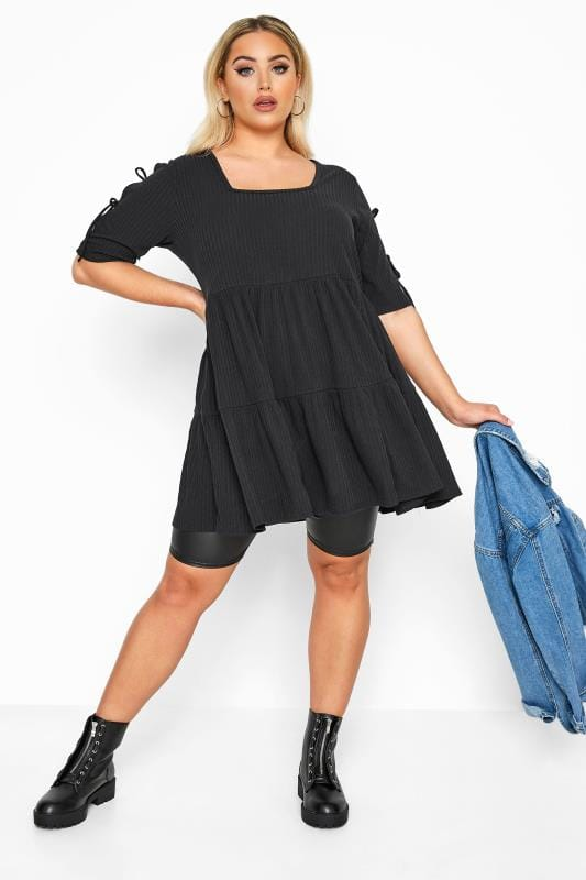 LIMITED COLLECTION Black Ribbed Tie Sleeve Tiered Tunic Dress