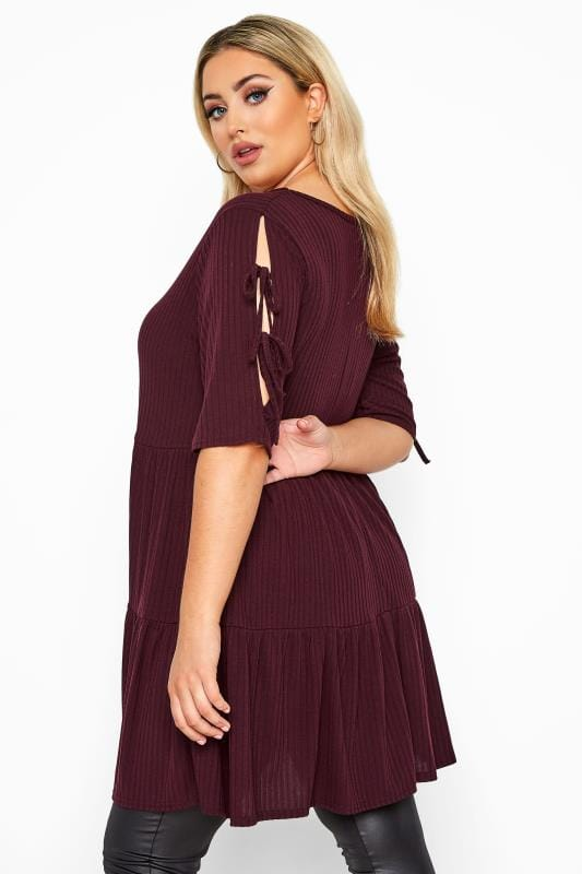Plus Size Sleeved Dresses LIMITED COLLECTION Burgundy Ribbed Tie Sleeve Tiered Tunic Dress