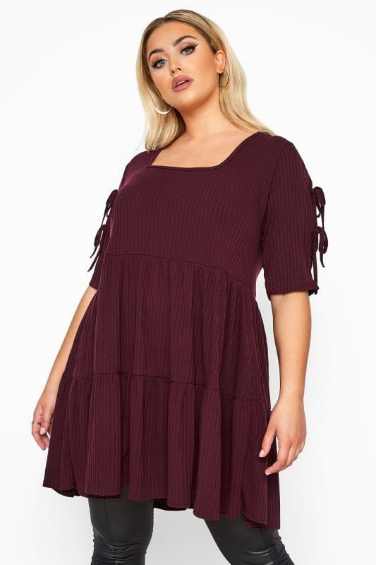 LIMITED COLLECTION Burgundy Ribbed Milkmaid Tiered Tunic Dress