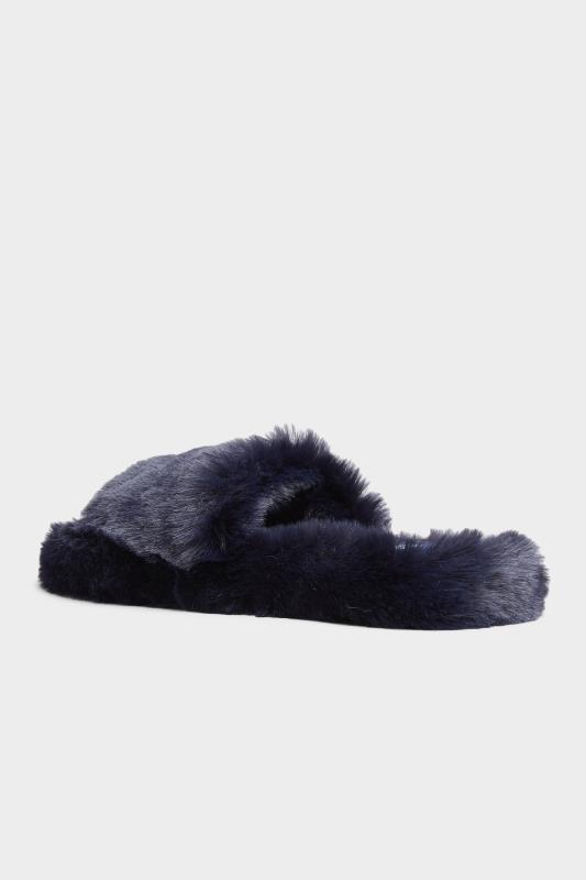 Navy Vegan Faux Fur Slippers In Regular Fit