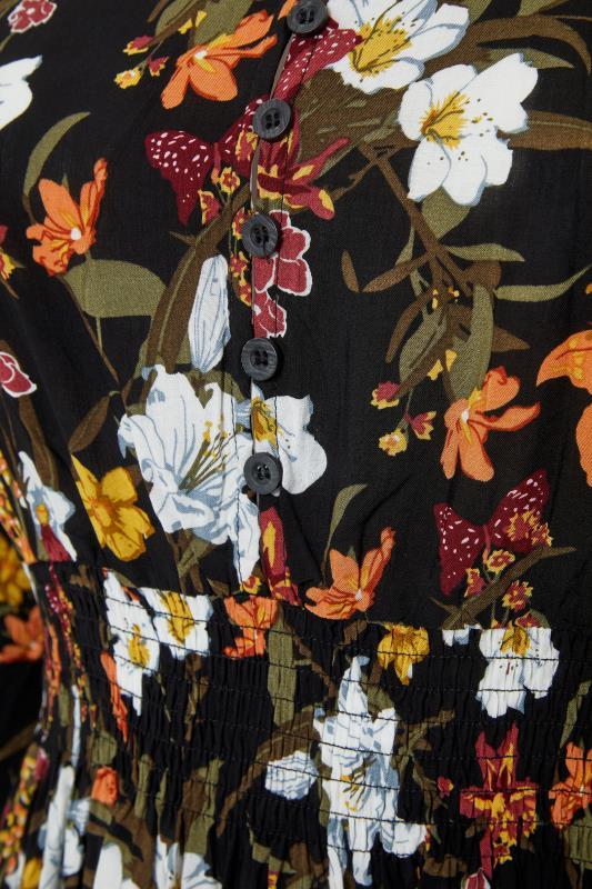 Black Floral Turn Back Sleeve Midi Dress_s.jpg
