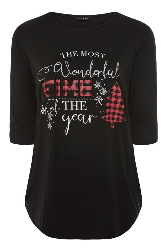Plus Size  Black 'The Most Wonderful Time Of The Year' Slogan Christmas T-Shirt