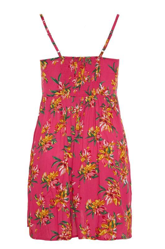 Pink Floral Strappy Crinkle Dress_BK.jpg