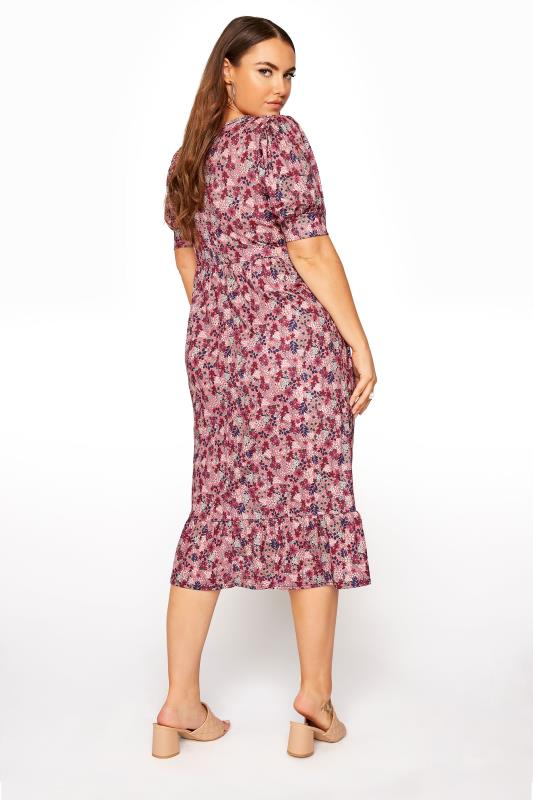 YOURS LONDON Pink Ditsy Tiered Dress_C.jpg