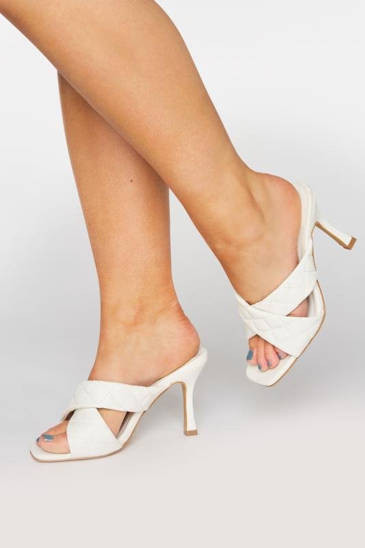 Plus Size  LIMITED COLLECTION White Cross Quilted Stiletto Mules In Extra Wide Fit