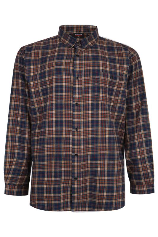 Casual / Every Day Grande Taille ESPIONAGE Navy & Mustard Check Brushed Cotton Flannel Shirt