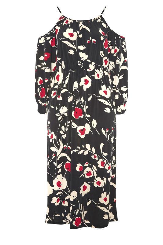 Black Floral Print Cold Shoulder Midaxi Dress_F.jpg