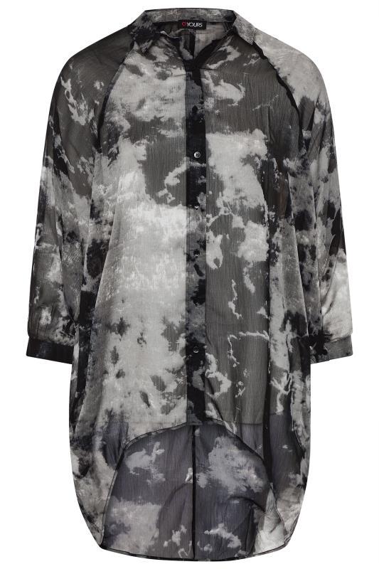 Grey Tie Dye Chiffon Oversized Shirt