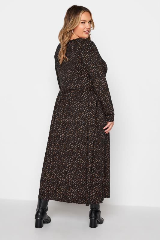LIMITED COLLECTION Brown Ditsy Print Smock Midaxi Dress_C.jpg