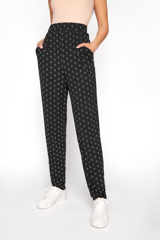 LTS Black Geometric Double Pleat Jersey Harem Trousers_B.jpg
