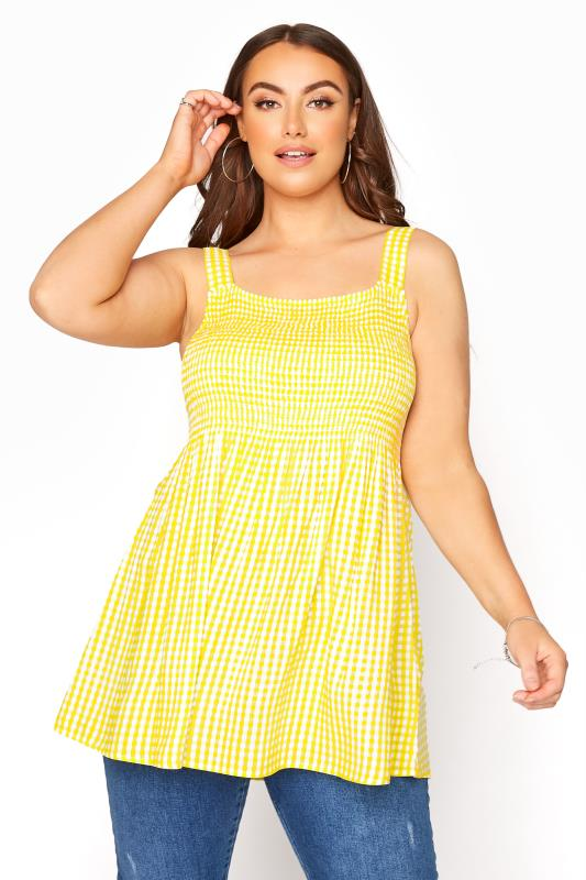 Plus Size  Yellow Shirred Gingham Vest