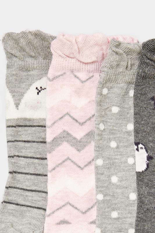 4 PACK Grey Penguin Socks