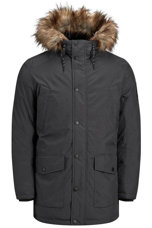 Coats dla puszystych JACK & JONES Charcoal Grey Parka Coat