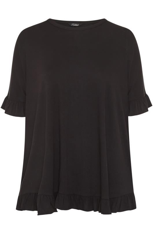 LIMITED COLLECTION Black Frill Jersey T-Shirt_F.jpg
