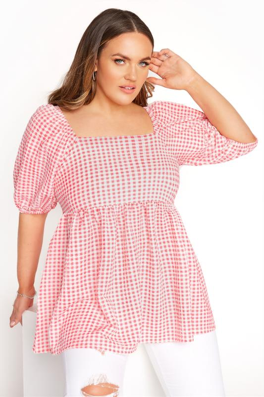 Plus Size  LIMITED COLLECTION Coral Pink Gingham Milkmaid Top