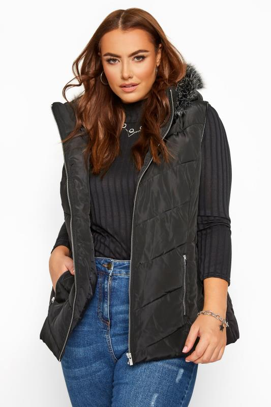 Formal Jackets Grande Taille Black Quilted Faux Fur Trim Gilet
