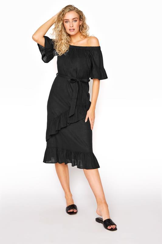 LTS Black Linen Bardot Frill Dress_A.jpg