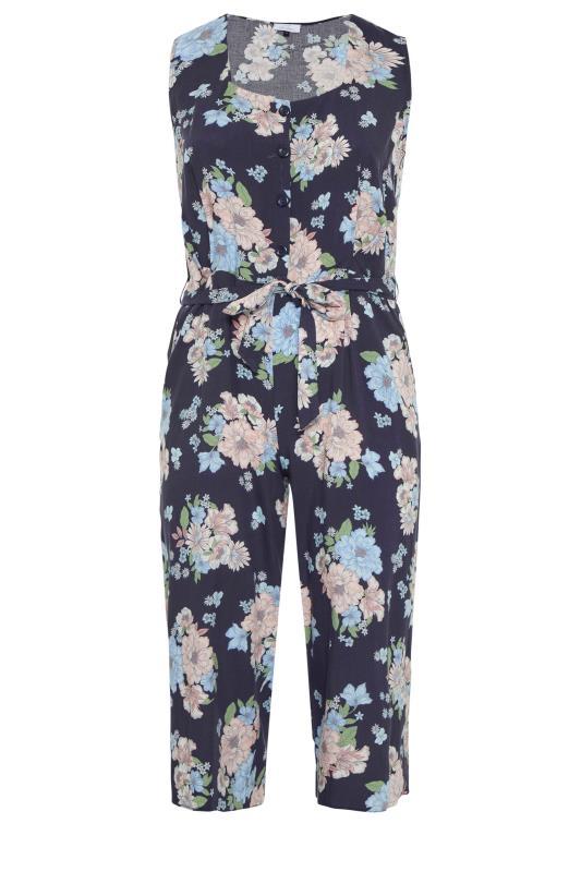 YOURS LONDON Navy Floral Button Crop Jumpsuit_f.jpg