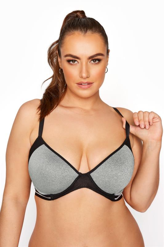 Plus Size  Grey Padded Contrast Trim Sports Bra