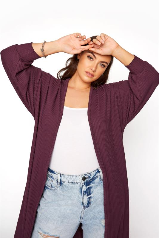 LIMITED COLLECTION Plum Balloon Sleeve Brushed Maxi Cardigan_D.jpg