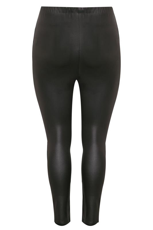 YOURS LONDON Black Leather Look Panel Disco Leggings