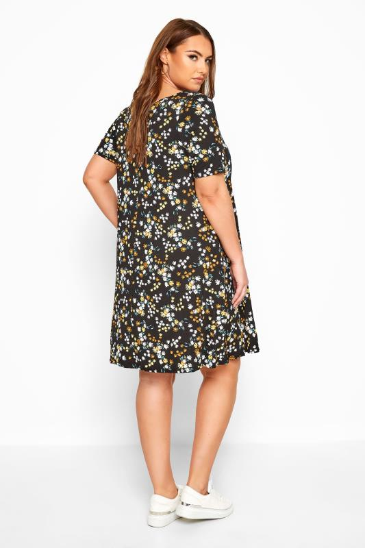 Black Floral Pocket Swing Dress