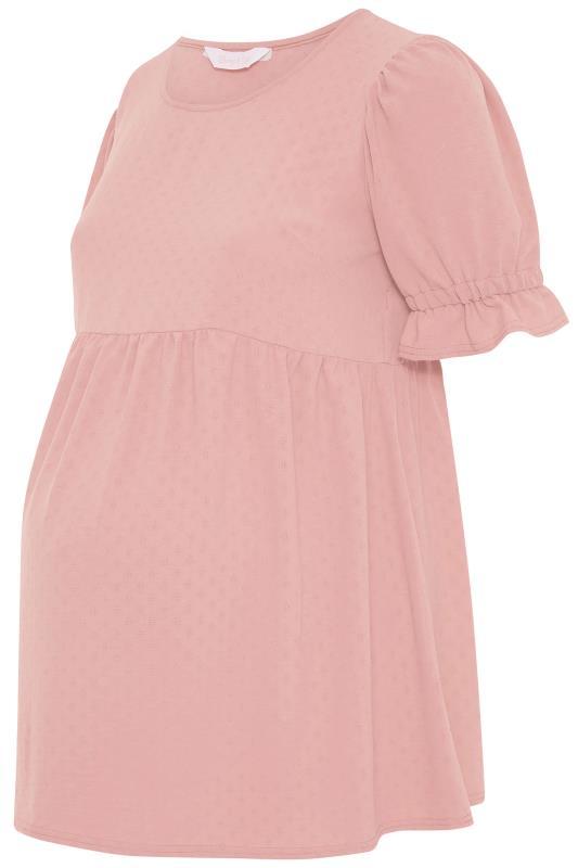 BUMP IT UP MATERNITY Pink Dobby Puff Sleeve Smock Top_F.jpg