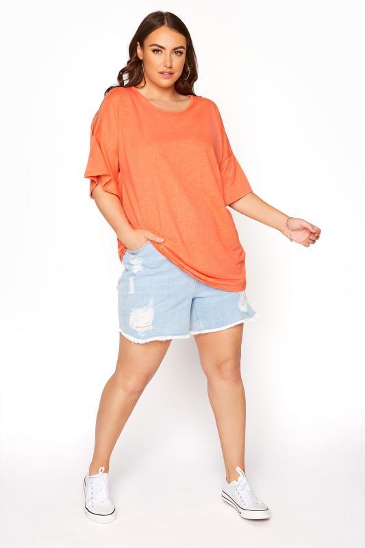 Bright Coral Cold Shoulder T-Shirt_B.jpg