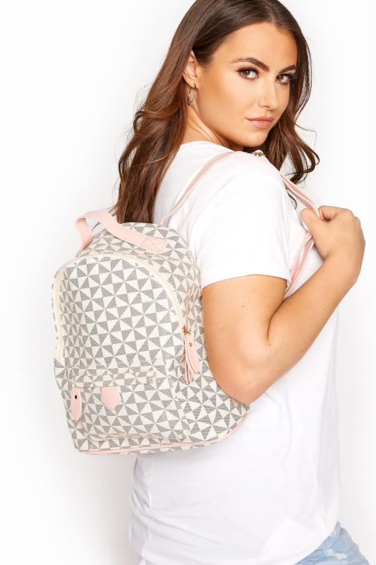 Yours Pink Geometric Print Backpack
