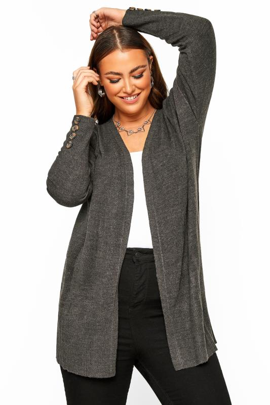 Charcoal Grey Horn Button Cuff Knitted Cardigan