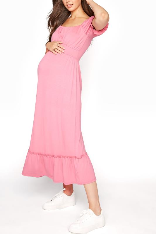 LTS Maternity Dusky Pink Milkmaid Dress_A.jpg