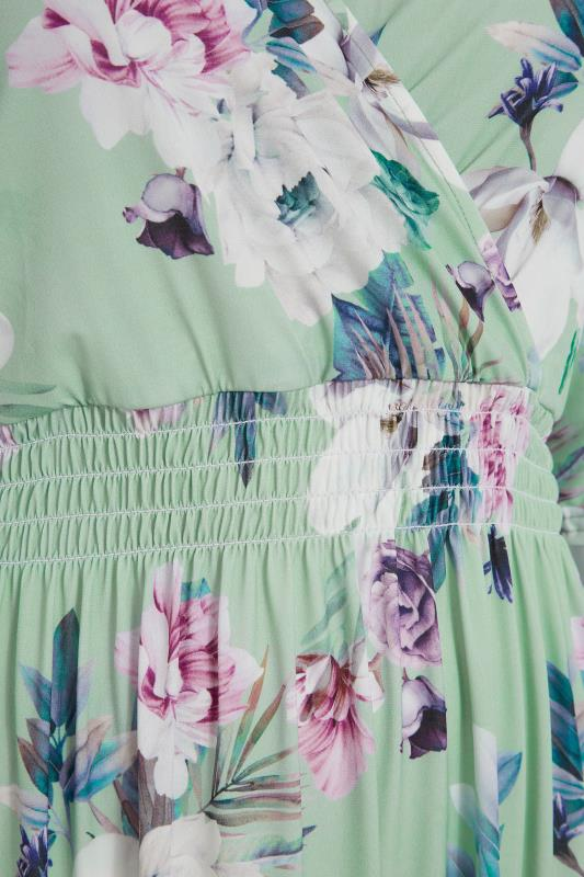 YOURS LONDON Green Floral Wrap Midaxi Dress_D.jpg