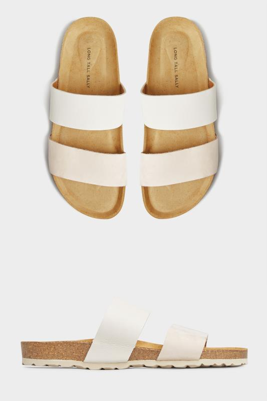 Off-White Leather Two Strap Footbed Sandals