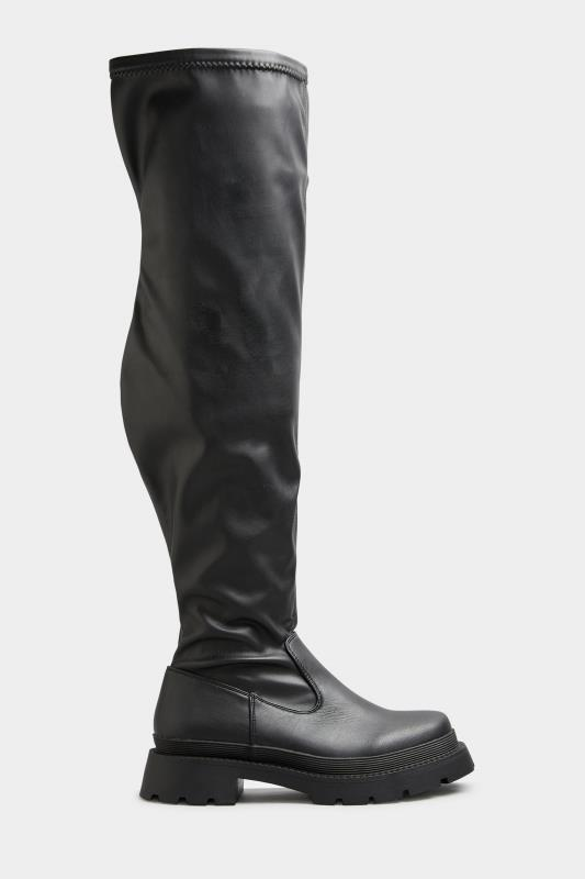LIMITED COLLECTION Black Over The Knee Cleated Boots In Extra Wide Fit_A.jpg