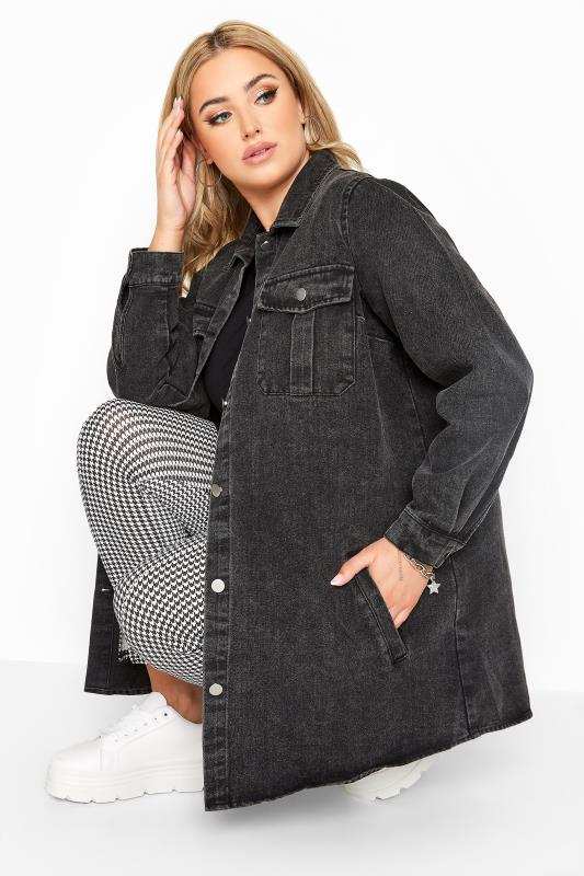 Plus Size  LIMITED COLLECTION Black Washed Longline Denim Shacket