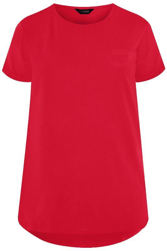 Red Mock Pocket Dipped Hem T-Shirt