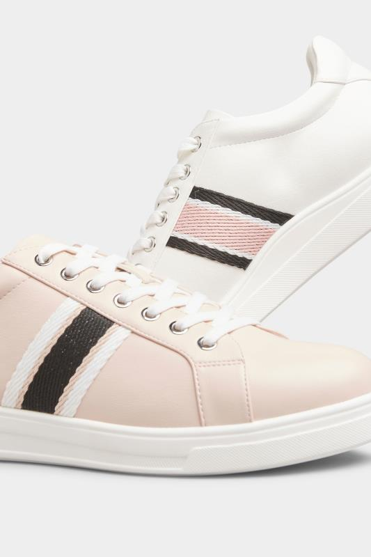 Pink Vegan Faux Leather Stripe Trainers In Extra Wide Fit_E.jpg