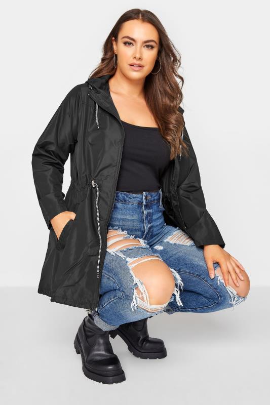 Plus Size Parka Coats Black Pocket Parka With Contrast Drawstrings