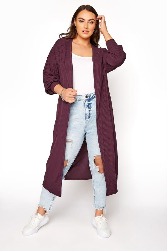 LIMITED COLLECTION Plum Balloon Sleeve Brushed Maxi Cardigan_B.jpg