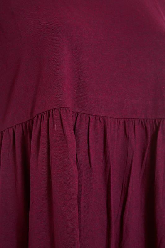 Berry Red Drop Shoulder Peplum Top_S.jpg