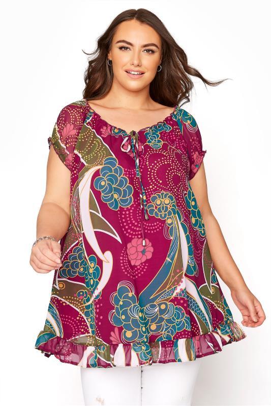 Plus Size  Burgundy Deco Print Tie Front Gypsy Top