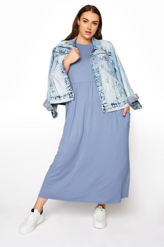 LIMITED COLLECTION Jeansblaues Maxi Kleid mit 2 Taschen